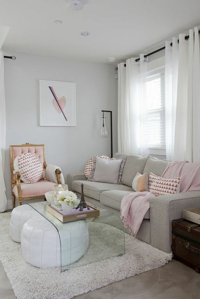 no coffee table living room modern photos 1001 ideas for color to transform your home pale pink chair with gold details light grey sofa cushions and blanket clear glass two white bean floor fluffy cream rug