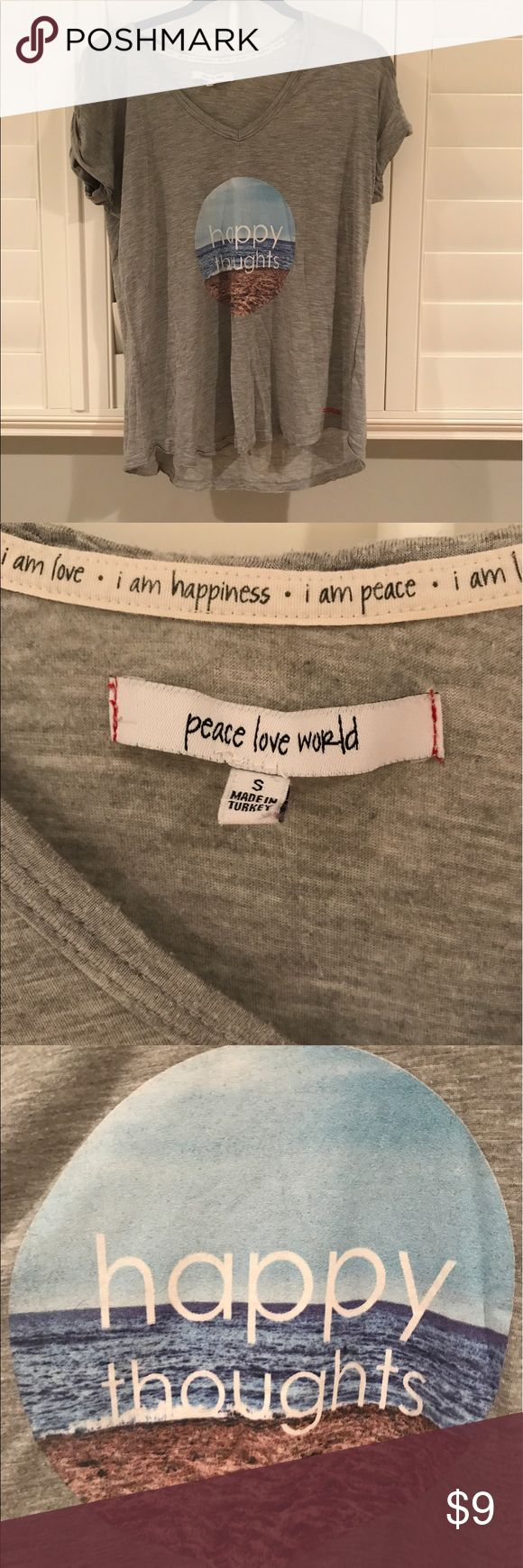 Peace Love World happy thoughts printed tshirt Great condition (some pulling - shown in photos), lots of love left and great mantra, very popular brand in Miami, great material and awesome for working out or wearing casually peace love world Tops Tees - Short Sleeve