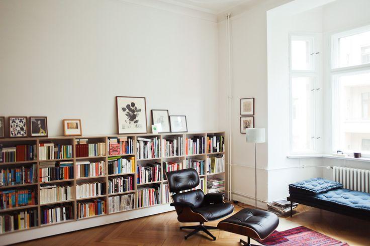 white, books & Eames Lounge Chair