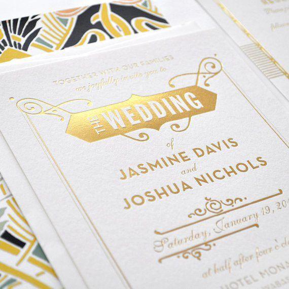 Gold foil letterpress wedding invitation - http://themerrybride.org/2015/06/20/wedding-invitations-on-etsy-com-2/