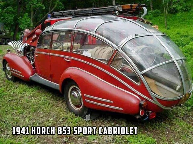 1941 Horch 853 Sport Cabriolet looks like a greenhouse on wheels.