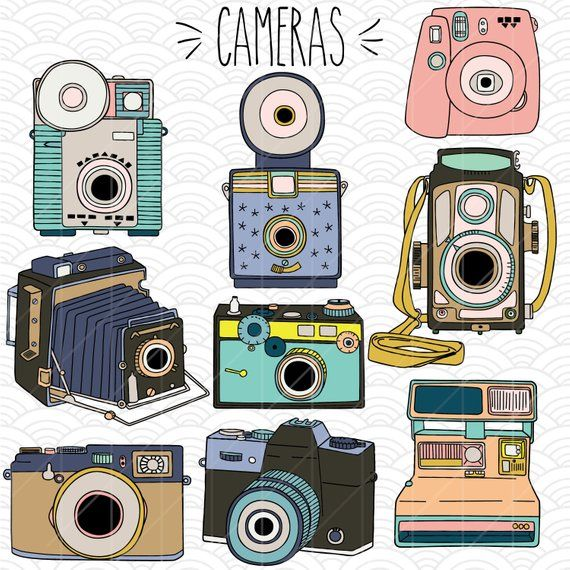 Vintage Cameras Colored Clip Art Hand Drawn Polaroid Etsy In 2020 Camera Drawing Color Pencil Illustration Camera Art