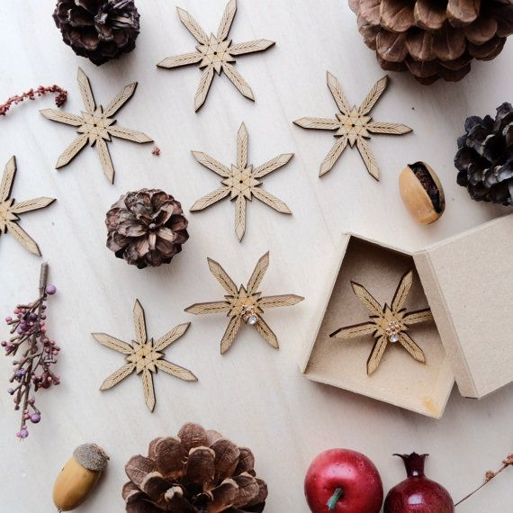 Wooden Snowflakes Card with Earrings 02 by VanesDay on Etsy