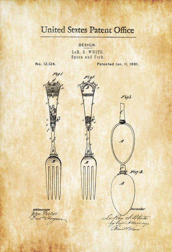 1881 Victorian Spoon and Fork Patent - Kitchen Decor Restaurant Decor Patent Print Wall Decor Chef Gift Cooking Patent Cook Gift by PatentsAsPrints