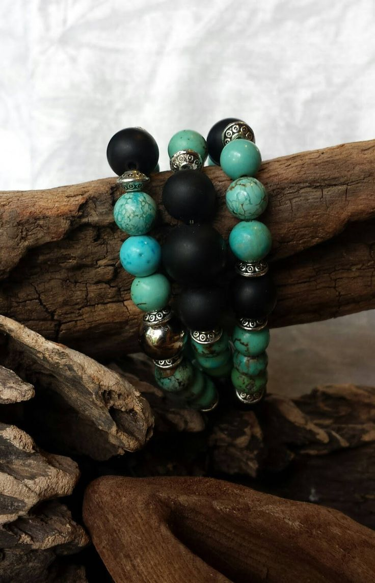 3 Large Turquoise and Black Matte Onyx with Silver Plated Beads Stacking Stretch Bracelet Set by OpalandJewellDesigns on Etsy