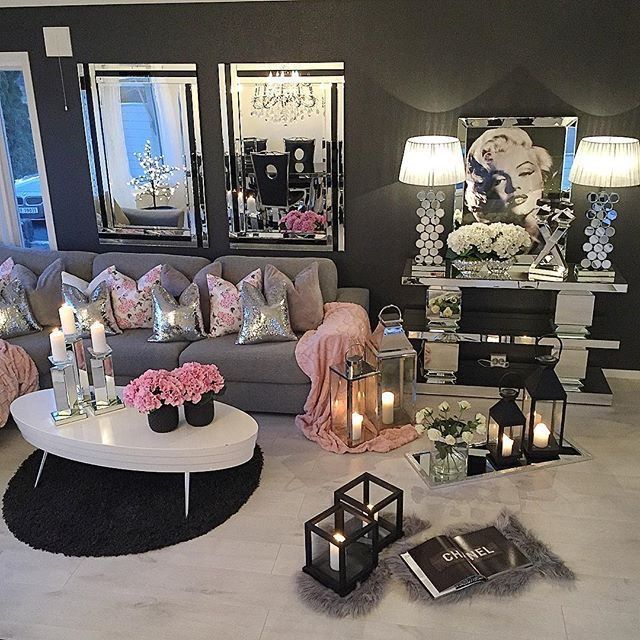 Mirrors On Floor Then Place Over Sized Lamps Candles On Them Living Room Decor Girly Room Home Interior Design