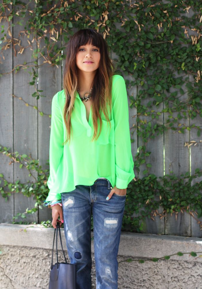 Brights!   Sincerely, Jules: Green Blouses, Colors, Street Style, Neon Green, Denim, Bangs, Boyfriends Jeans, Wardrobes Staples, Limes