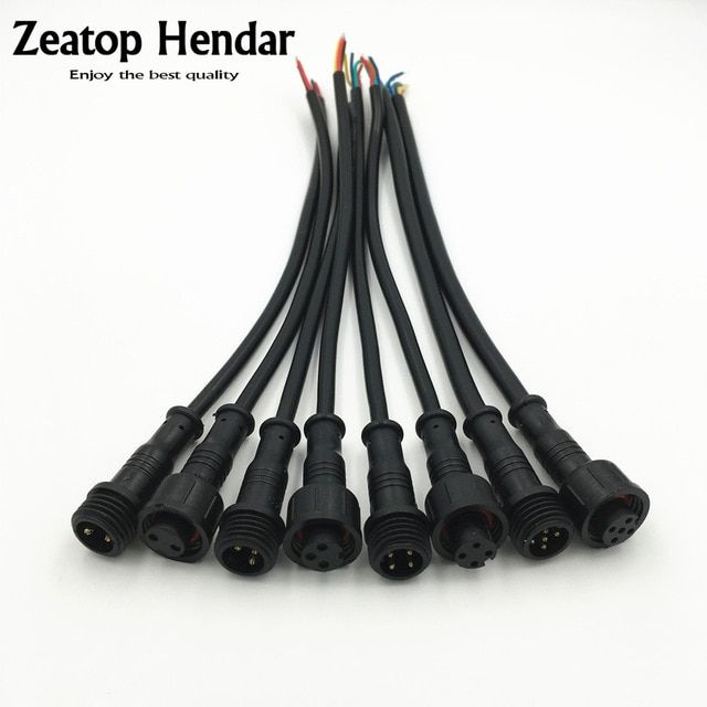 10pair M12 Waterproof 2 3 4 5 Pin Ip65 Power Cable Wire Plug For Led Strips Male And Female Jack Connector Small Size Head 20cm Re Cable Wire Power Cable Plugs