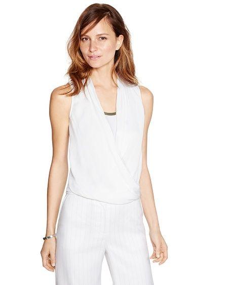 Sleeveless Surplice White Blouson Top #White #WhiteHouseBlackMarket #WestfieldUTC https://www.westfield.com/utc/stores/all-stores/white-house-black-market/50620