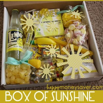 Homemade Box Of Sunshine {Get Well Gift} This get well gift contains all things bright and cheery.  The yummy treats and happy yellow and are sure to lift anyone's spirits.  A great gift for someone stuck in the hospital, recovering from an illness, or just a little depressed.  The box includes soap, candies, lemon cake mix and more.  All things you can easily find at your local grocery store!!