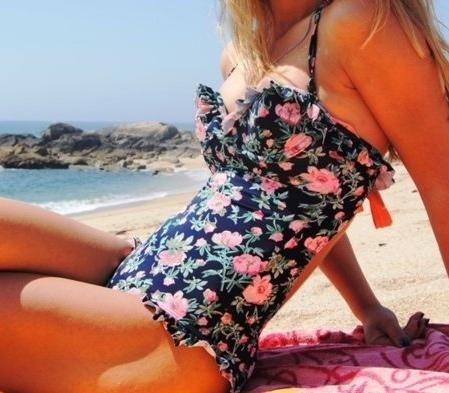 Lovely floral one piece swim suit! I so want!   HA I own the bikini version of this!
