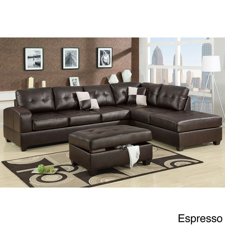 Poundex Sectional White Leather Sofa Chaise: 1199.99 Berane Reversible All Around Bonded Leather