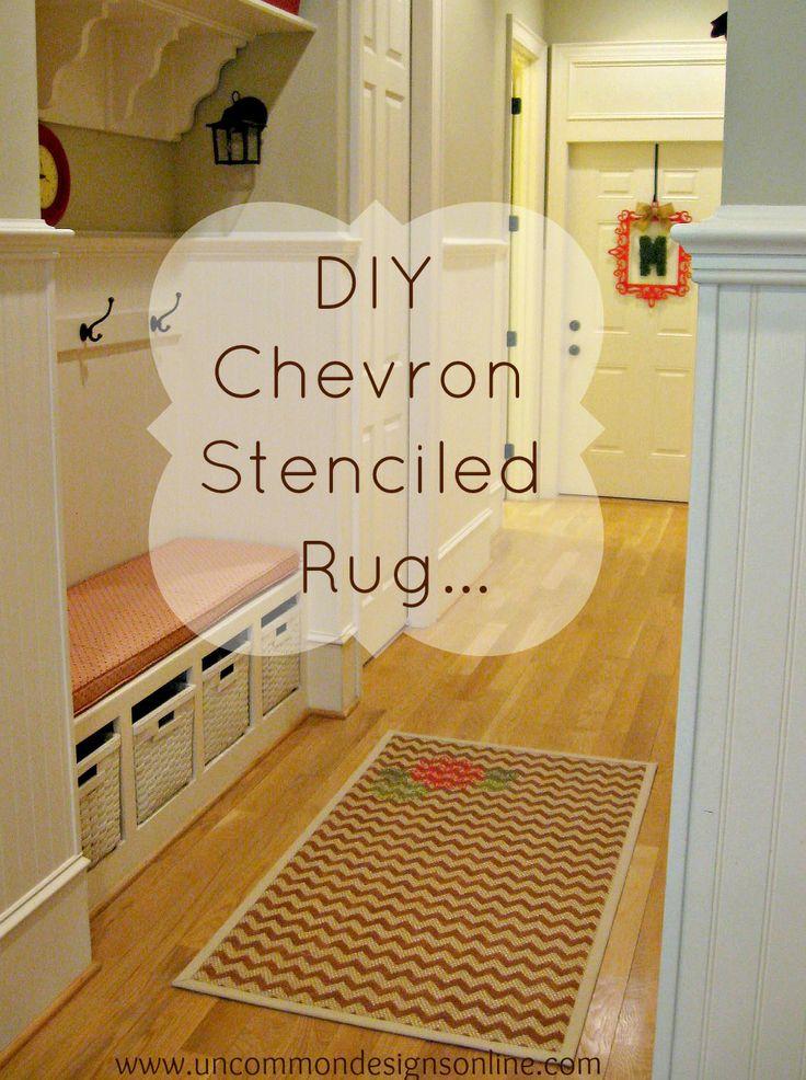 DIY Chevron Stenciled Rug... { Tutorial } - Uncommon Designs...