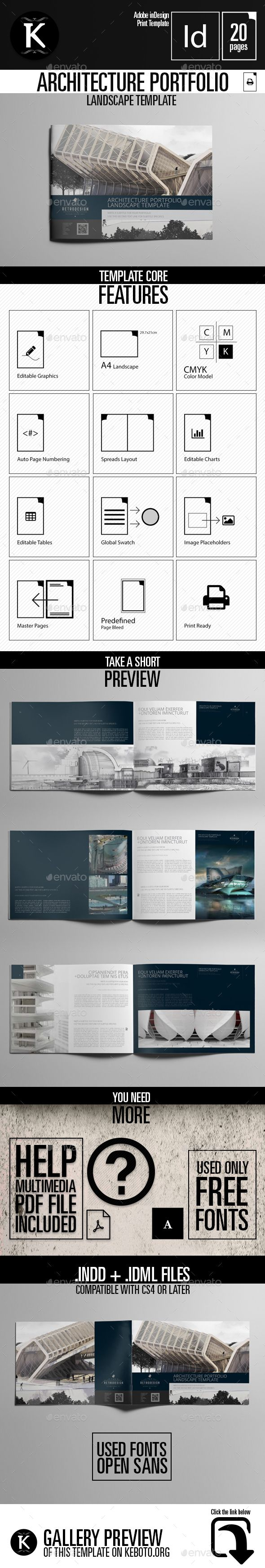 Architecture Portfolio Landscape Template - Portfolio Brochures