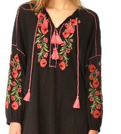Excited to share the latest addition to my #etsy shop: Women tunic dress, cotton floral embroidered tunic dress, Mexican tunic, beach tunic dress, vintage tunic, black, red, boho tunic, S, M, L,