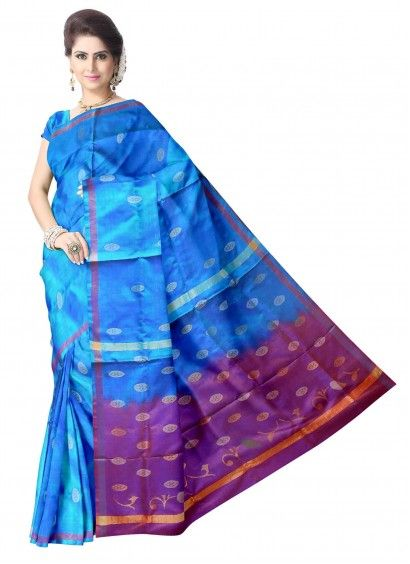 Ananda Blue Uppada Handloom Silk Saree with Running Pallu Color Blouse Product code: UHSUP7S135 Retail price: 5,939/- Sale price : 5,656/-