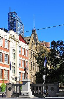 Francis Ormond statue near the former Working Men's College, at RMIT's City campus made byPercival Ball (1845-1900).
