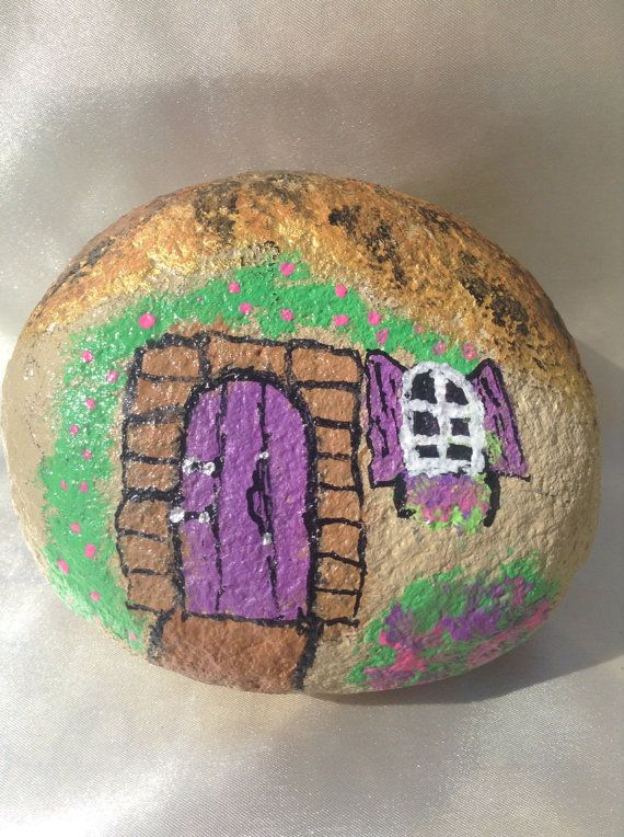 Fairy Garden Gnome House Painted Rock