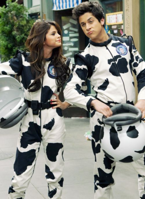 Selena Gomez and David Henrie on the set of Wizards Of Waverly Place