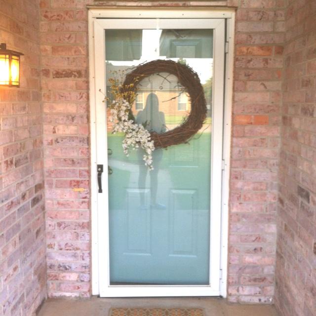 """Teal Door! Color = Behr """"Lotus Leaf""""."""