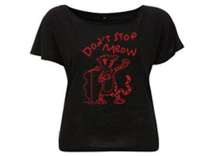 Don't stop Meow Kat - Tencel T-shirt Zwart