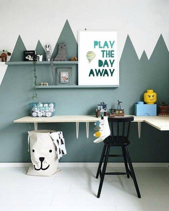 Play – Hot air balloon print teal nursery wall art