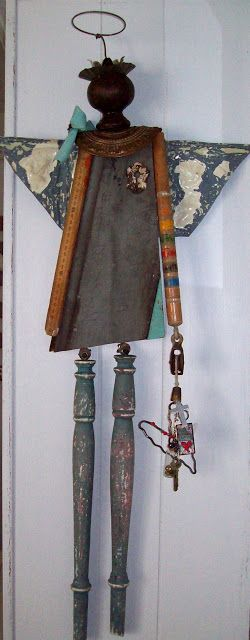 Salvaged Junk Angel -  old spindles, wood, hardware and more!