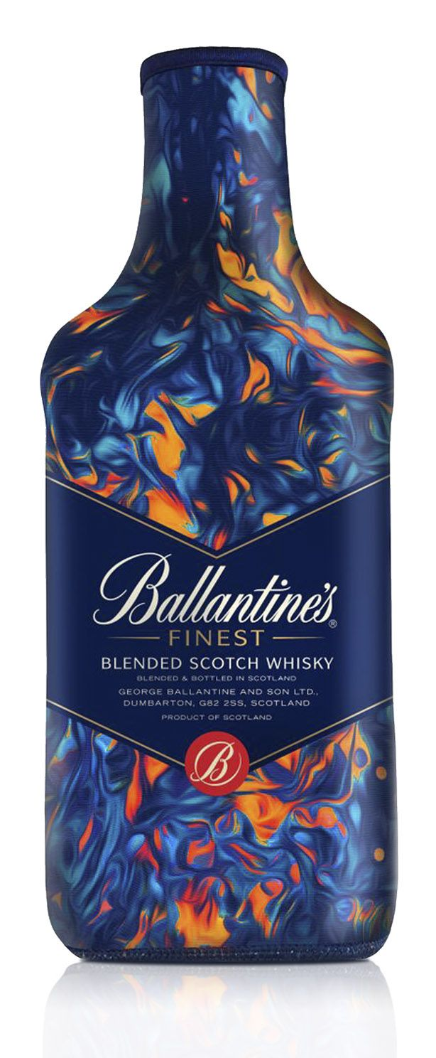 Ballantine's Neoprene Finest Sleeve. Ballantine's Artist Series collaborated with Leif Podhajsky to create this vivid sleeve design inspired by the fire and water so essential to the whisky making process. Client: Ballantine's Whisky. Artwork: Leif Podhajsky. Production: Lucas Promotions. Packaging Materials: Neoprene #neoprene #ballantines #sleeve #creative #packaging