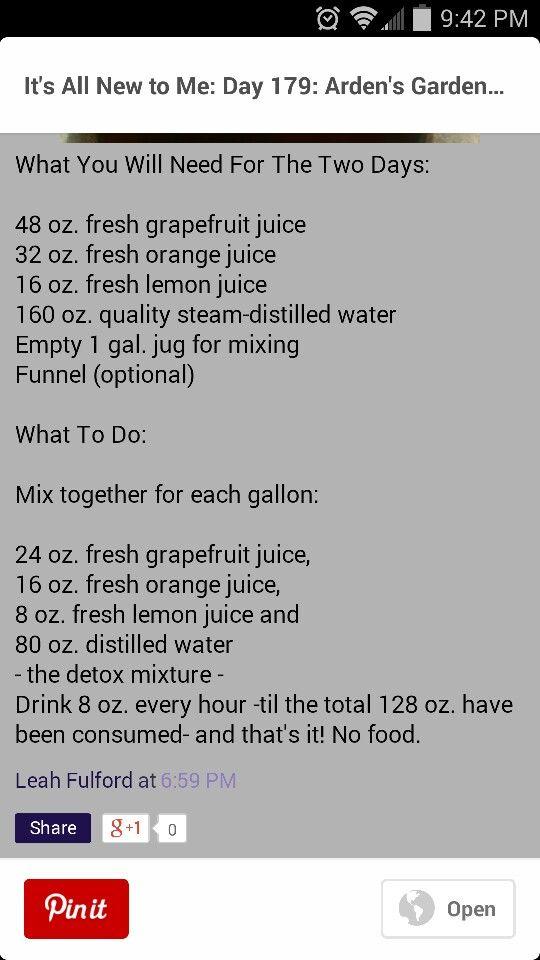 Arden garden detox recipe about 8 oranges 10-12 grapefruit 12-14 lemons + water