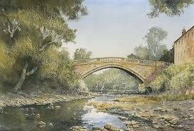 Watercolour by Eric Thompson, Bondgate Gallery, Bishop Auckland - looking downstream