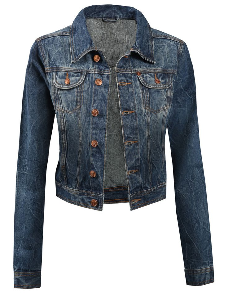 LE3NO Womens Vintage Cropped Denim Jacket With Pockets. I want this!