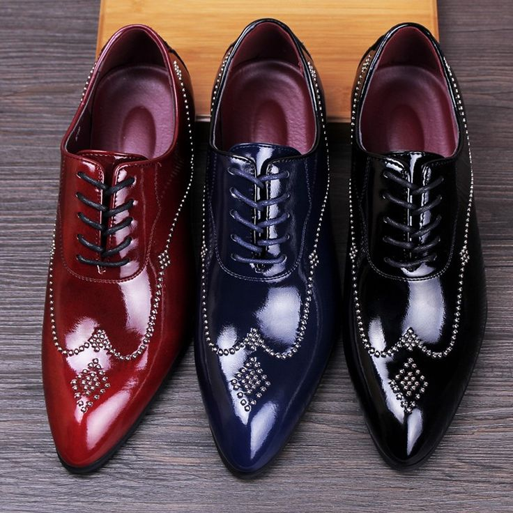 new 2016 men brogues shoes pointed toe genuine leather rivets oxfords  italian men dress shoes red