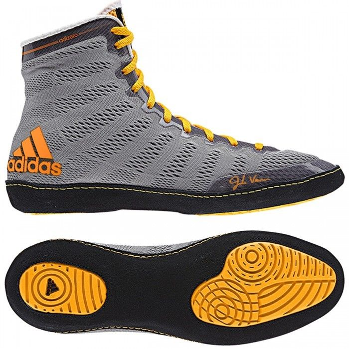 Adidas AdiZero Varner Wrestling Shoes - Grey/Black/Solar Gold Canada