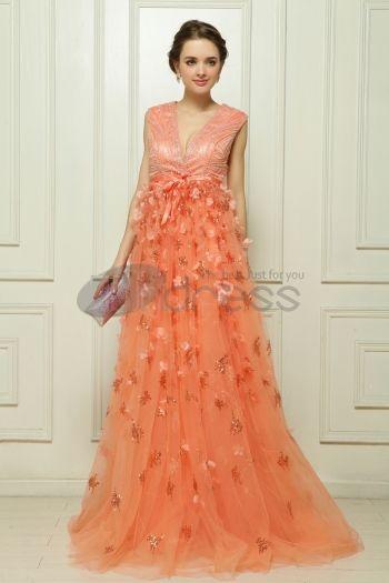 Abiti in Magazzino-Organza perline arancione abito da sera rosa