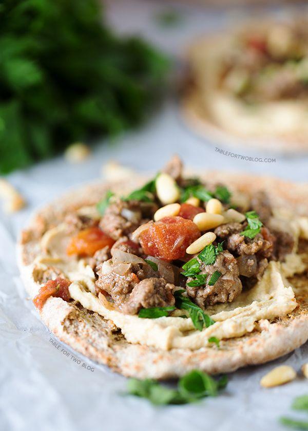 Ground Lamb and Hummus Pita Pizzas   tablefortwoblog.com