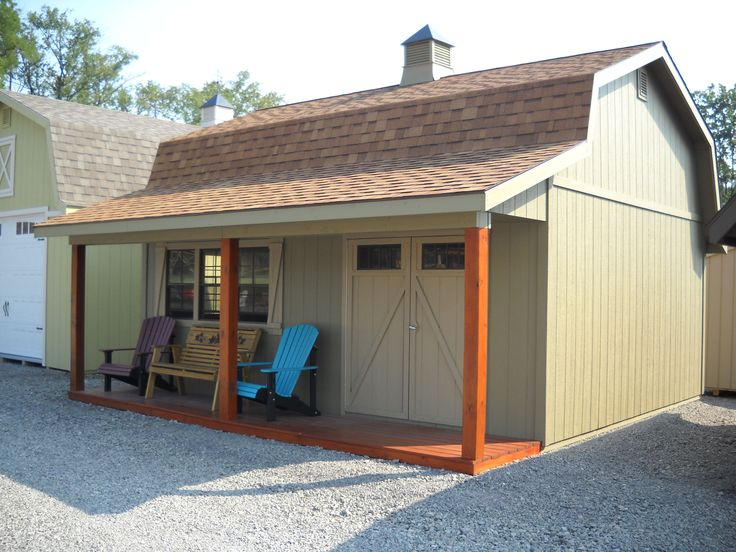 """In-store Price: $9,970.00 The Scioto Series sizes start at 16' x 12' with a 4' porch and 6'6"""" side walls starting at $4,791.00 built and delivered, to the largest Scioto model at 23' x 32' with a bigger 7' porch and taller 8' side walls starting at $12,745.00 built and delivered.  Pictured Left: 20' x 20' with True Olive siding, Khaki trim and doors, Cedar stained porch deck and posts, Tan Shingles, 2'6"""" x 3' and 2' x 3' aluminum windows, Z-style shutters, wood window, Cupola and long br..."""