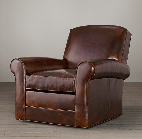 "Lowell Leather Club Swivel Chair 37""W x 38""D x 35""H many leathers Restoration Hardware $1950"
