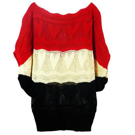 summer cutout shirt three-color loose pullover sweater  batwing shirt pullover sweater female