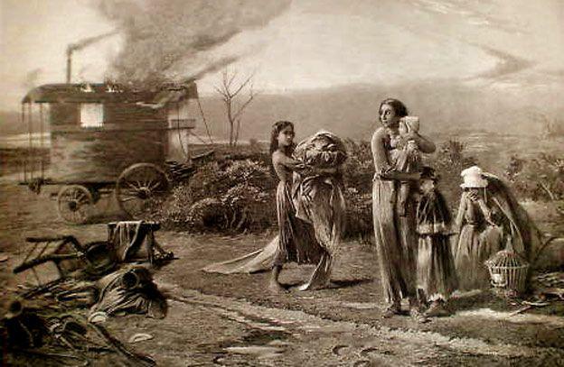Burning a wagon.   H.B. Roberts; 1874