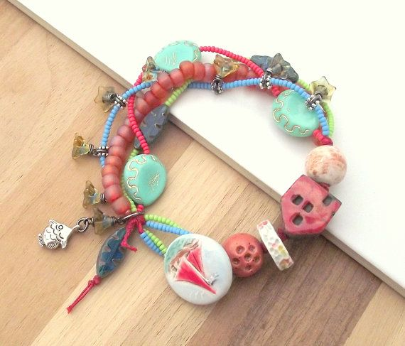 Red house and boat button bracelet multistrand by ButtonedUpBeads, £39.50