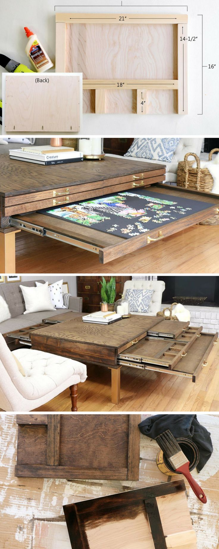 How to Build a DIY Coffee Table with Pullouts for Board Games | Free Project Plan via Homemade by Carmona