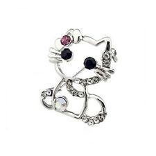 Strass Brosche Kitty Katze Kristall Tier silber rosa