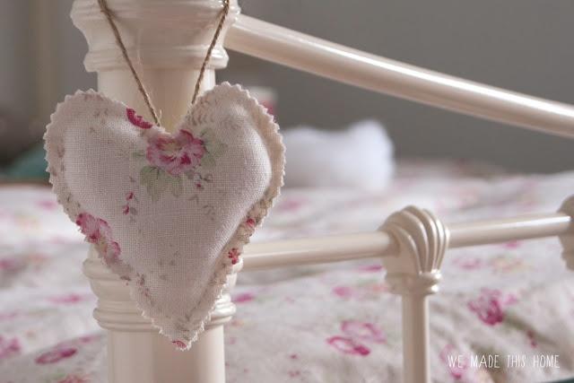 Peony and Sage * Fabric heart