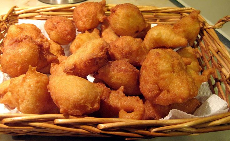 Zeppole...fried dough balls or fritters that can be made savory or sweet and are often made on St. Joseph's Day (made specifically as sfinge or a cake on March 19th) Scordorecipe