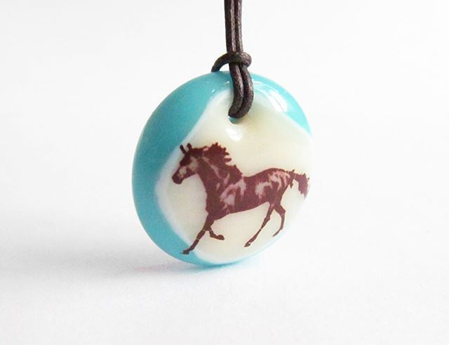 Horse necklace handmade by Leila Cools in glass. Small batch kiln-fired handmade.