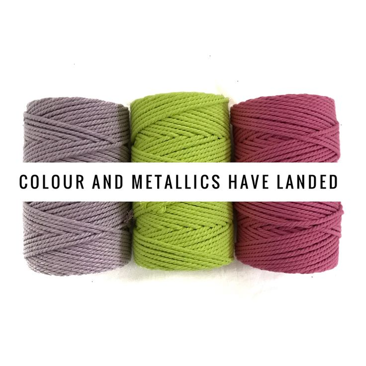 """78 Likes, 3 Comments - make yourself at home.... (@homevibes_macrame) on Instagram: """"It's finally here! Colour and metallics in my favourite 4mm 3ply 💜💗💛 This range is seriously LIFE…"""""""