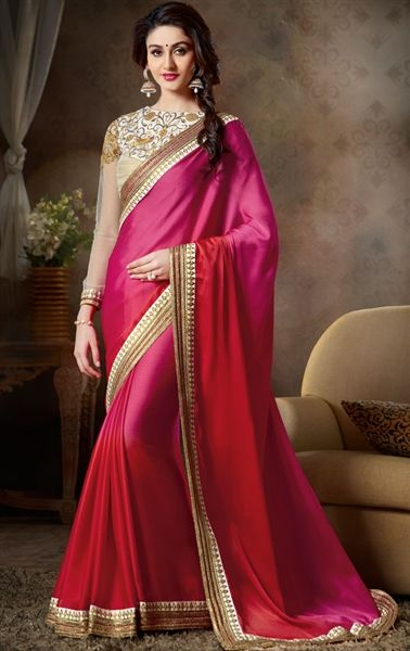 Picture of Sparkling Deep Pink and Maroon Designer Saree