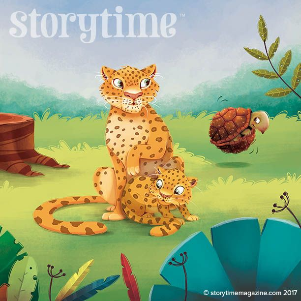 Jaguars outwitted in The Beginning of the Armadillos by Rudyard Kipling - in Storytime Issue 29. Illustrated by Fabiana Faille (https://fabianafaiallo.com.br) ~ STORYTIMEMAGAZINE.COM