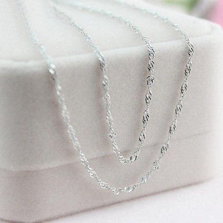 Wholesale 925 Italy Sterling Silver Water Wave Necklace Chain For Women 10 Pcs  #Unbranded #Charm
