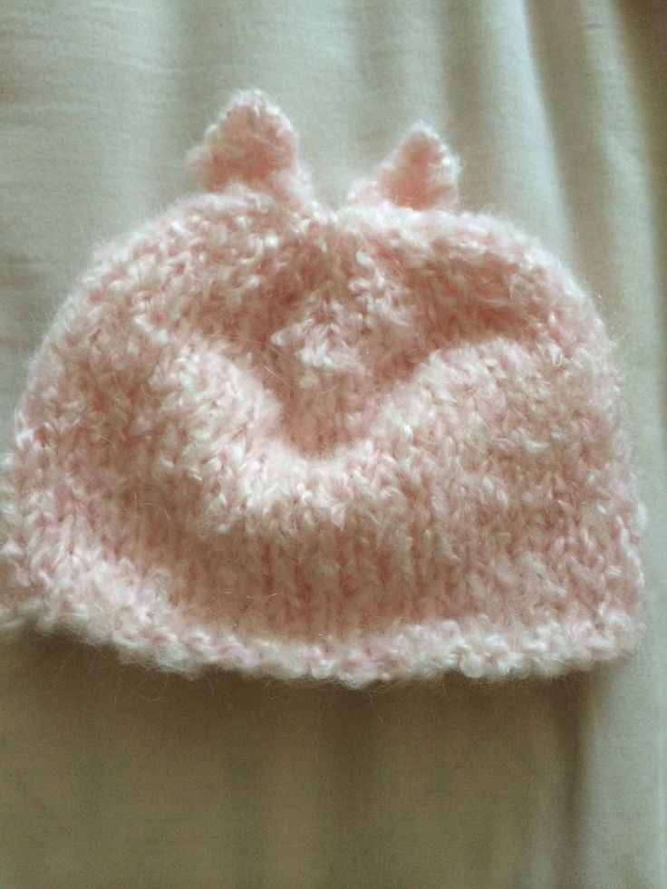 Pink bear ears baby beanie I knitted with love